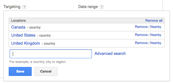 Location targeting in keyword planner