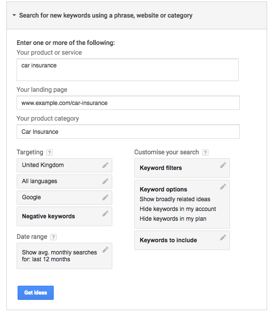 Search for negative keywords in Google AdWords Keyword Planner