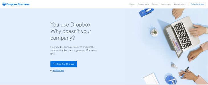 A screenshot of the Dropbox Business website