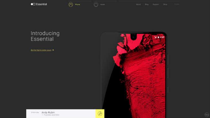 A screenshot of Essential's website