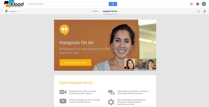 Google Hangouts main screen