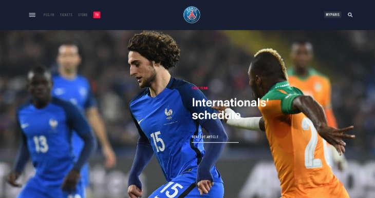 A screenshot of Paris Saint-Germain's website
