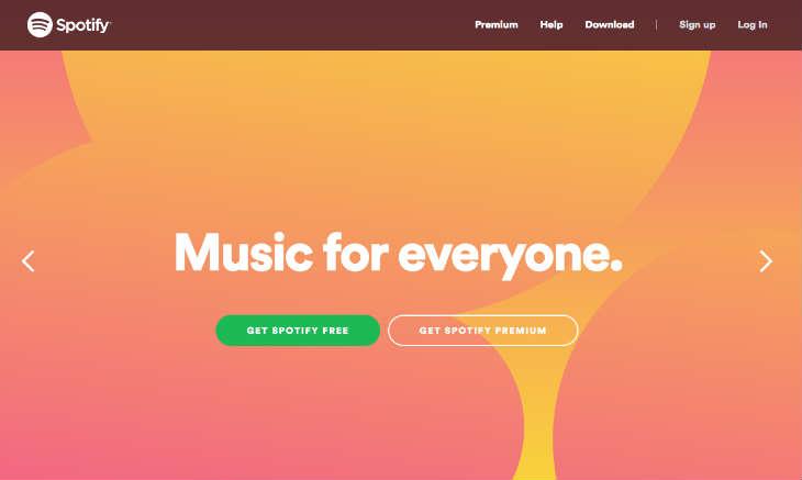 A screenshot of Spotify's website