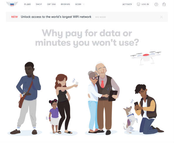 A screenshot of US Mobile's website