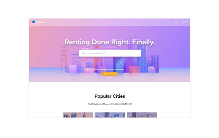 A screenshot of Rentberry.com