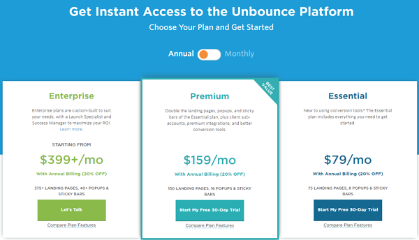 Unbounce price anchoring