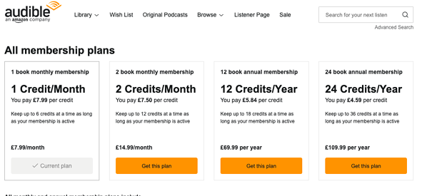 Audible price page